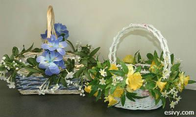 DIY Floral decorate Easter baskets
