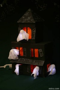 DIY Halloween craft decoration - tissue box haunted house