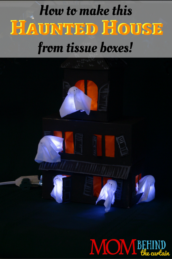 Halloween Decor Idea - DIY centerpiece, a table top haunted house. It's cheap! You make it from tissue boxes, napkins, and tissues. A fun and easy Halloween craft to make with kids!