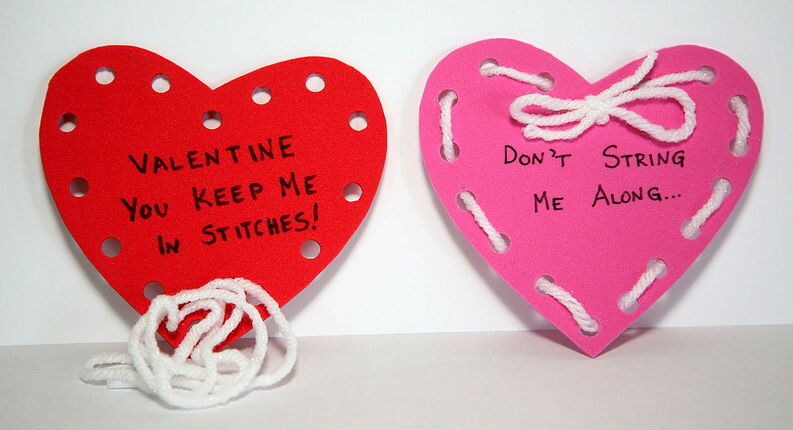 help your little one make their own stitching card valentines, Ideas