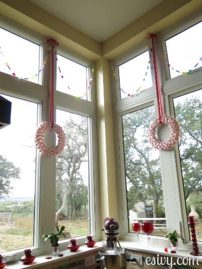peppermint wreaths in window