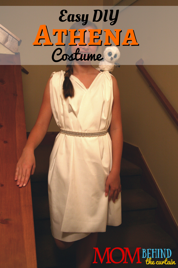 I made this Greek goddess costume for my daughter to be Athena from the Percy Jackson books. It's super easy, no sewing required! It would also make a great Book Week or Book Character Parade costume for lots of books, including Goddess Girls.