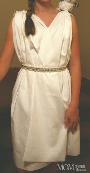 Athena Costume - Easy DIY Greek Goddess or Athena costume for girls, no sewing required!