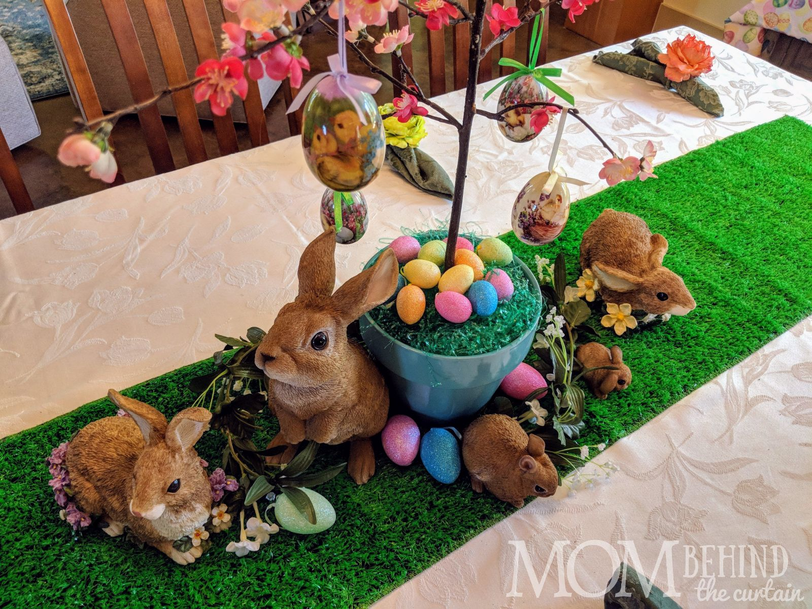 Easter table centerpiece collection of bunnies and eggs easy diy reusable