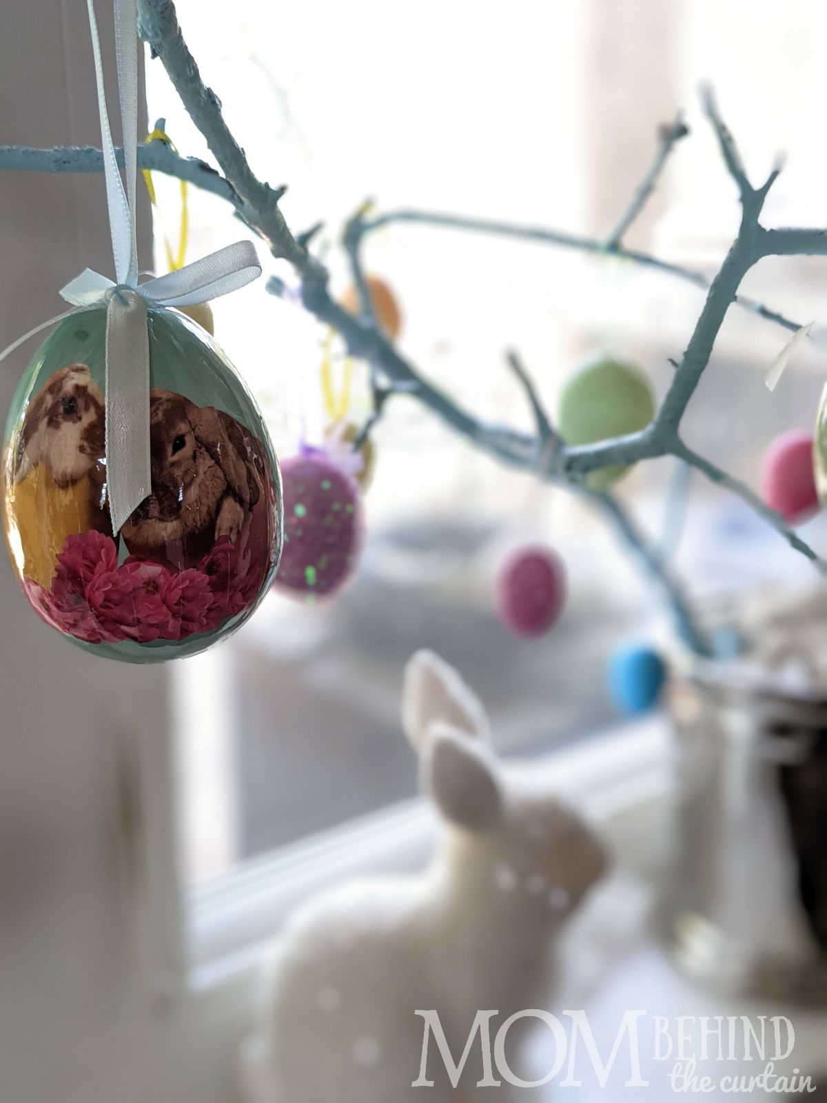 Easter tree DIY painted branch with eggs