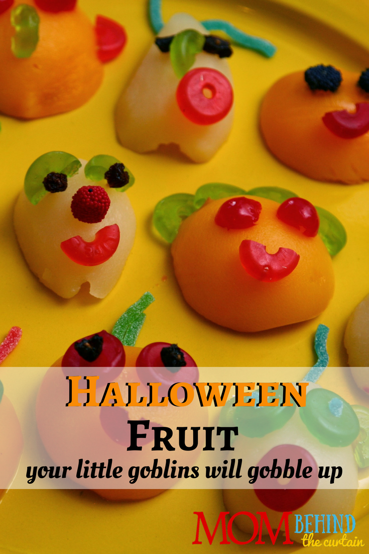 My kids love this fun fruit for Halloween. It's fun to let them help make it! There are a few tricks to getting the face pieces to stick.