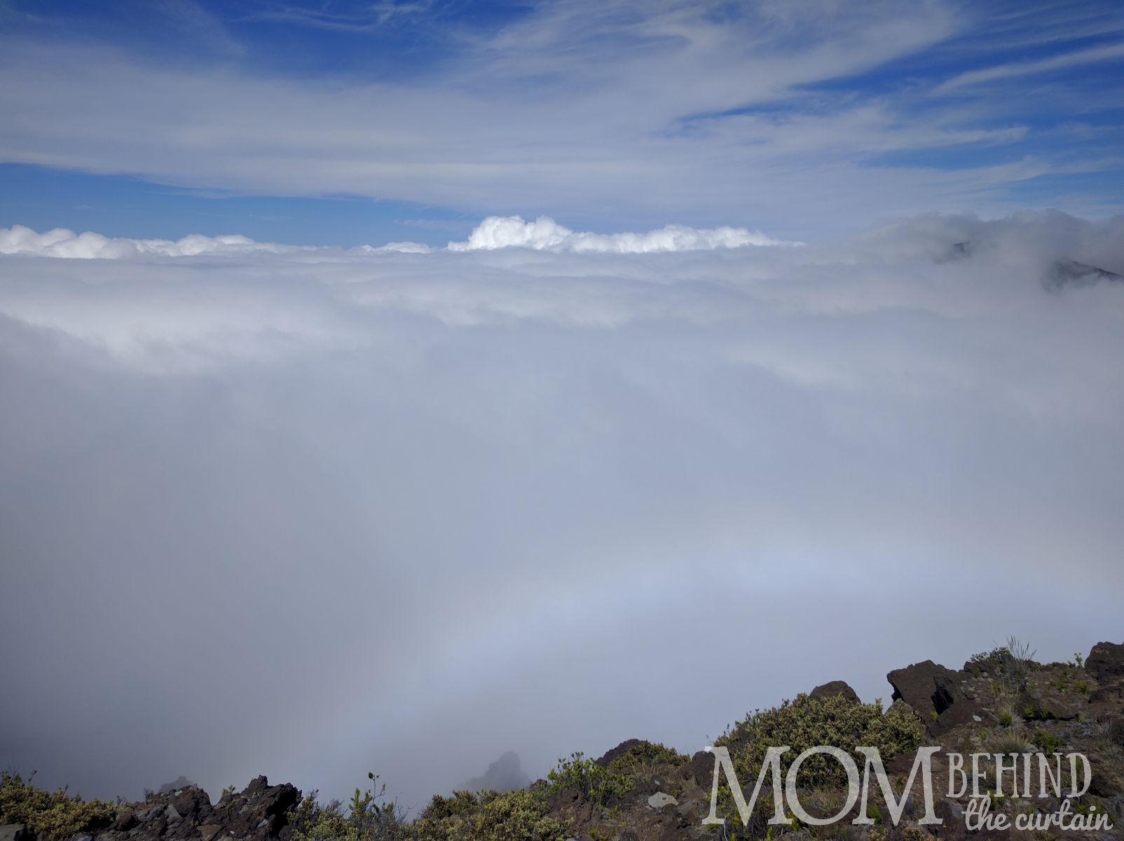 Close up view, above the clouds at Leleiwi Lookout, Maui