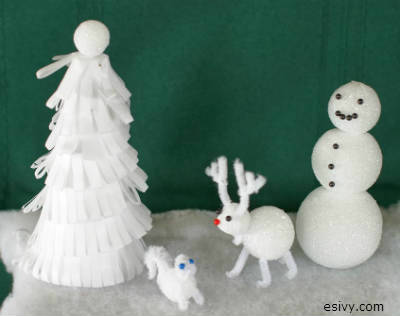 Winter wonderland scene craft made with Styrofoam and chenille stems, Christmas and winter craft kids can make!