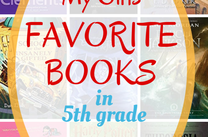 My girls' favorite books in 5th grade - on a background of book covers