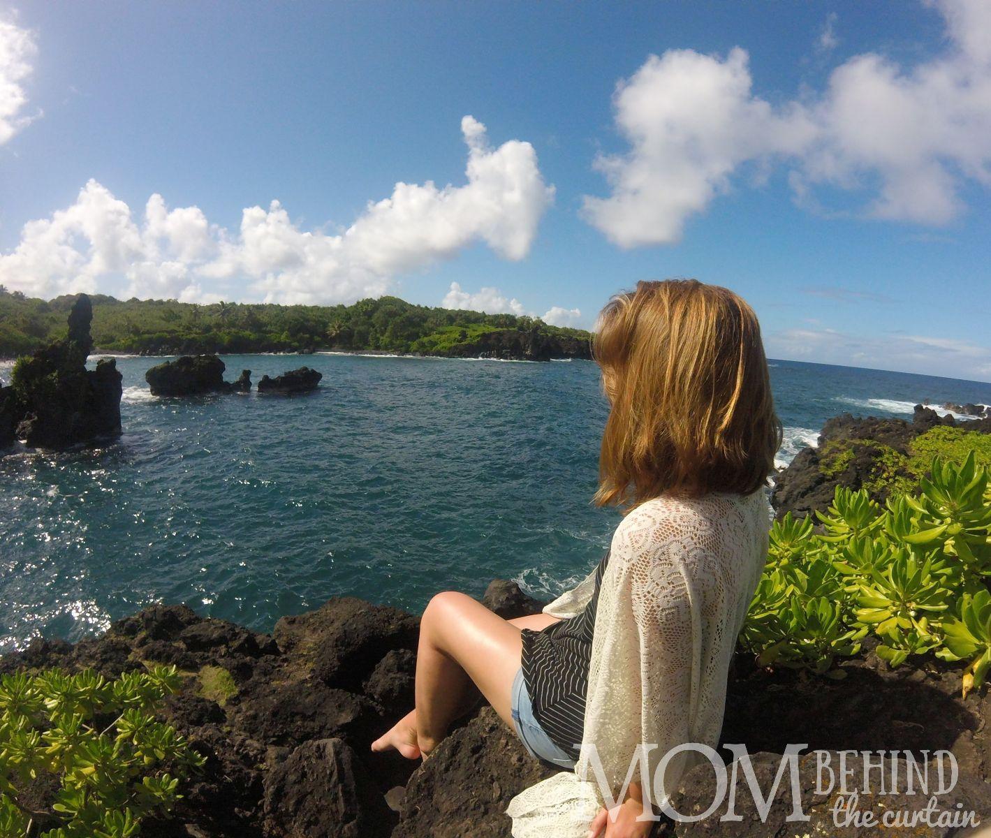 View of black sand beach on the Road to Hana, Maui, Hawaii