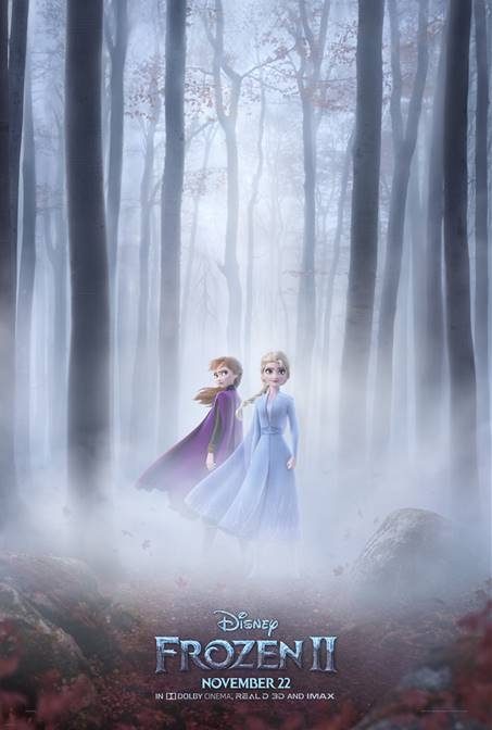 Frozen 2 Poster and official trailer. Elsa and Anna standing in a misty woods.