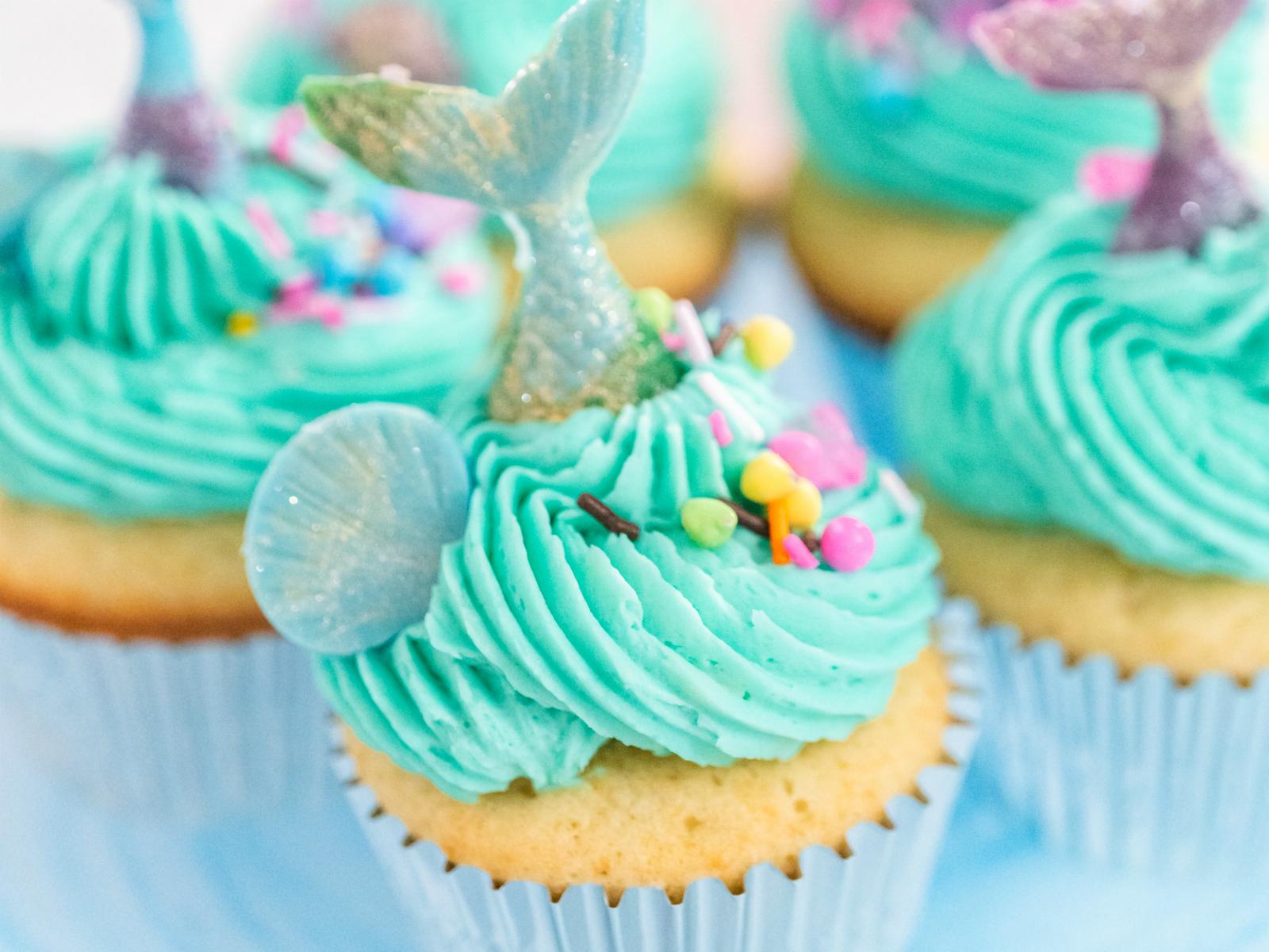 Mermaid party favor - mermaid tail cupcakes