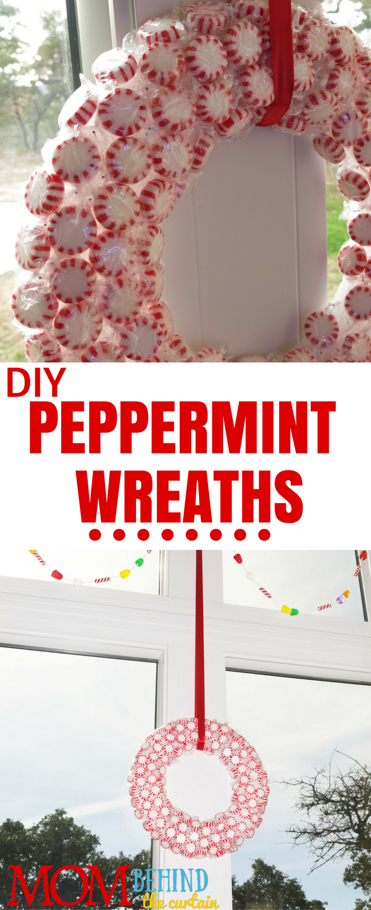 Christmas decor - DIY peppermint wreaths. My daughters made these with me years ago and we still enjoy hanging them in our kitchen windows every year. I share tips and tricks for this easy, original Christmas craft that your kids can help you with or even do on their own.