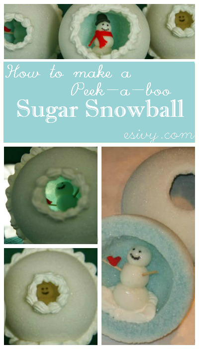 How to make - steps for making your own peek-a-boo sugar snowman, a snowman scene inside of a dried sugar hollow ball.